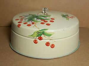 "Vintage Cake Pie Cover Hand Painted Berries Cherries Aluminum Carrier Top 12""x5"""