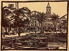 Port de Provence  bois gravé circa 1941 Signé J.L Morlot
