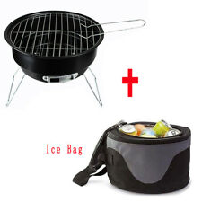 Outdoor mini  Portable Stainless Steel BBQ grill + Ice Bag Camping Cooking HC