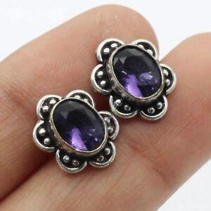 "Amethyst 925 Silver Plated Handmade Gemstone Stud/Earrings of 0.5"" Ethnic Gift"