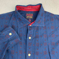 Cremieux Button Up Shirt Mens XL Blue Orange Long Sleeve Embroidered Striped