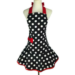 Women Polka Dots Lace Up Apron Dress Coffee Home Work Clothing Waitress Uniforms
