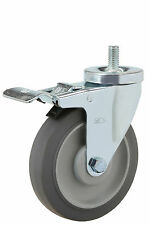 """Total Lock Stem Caster: TS 1/2-13x1. Rubber on Poly Wheel: 4"""" x 1-1/4"""". Ball Brg"""