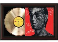 """Rolling Stones Framed Cherry Wood Reproduction Signature LP Record Display """"M4"""""""