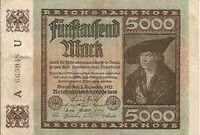 Billete de ALEMANIA 5000 Marcos 1922
