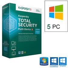 KASPERSKY TOTAL SECURITY 2018  5PC LICENZA 1 ANNO /  100% ORIGINALE