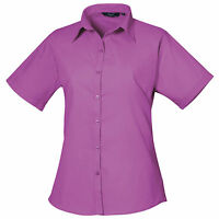 Premier Poplin Ladies Womens Short Sleeve Business Office Work Shirt Blouse Top