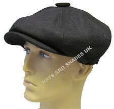 New Black Gatsby Cap Hat Flat 8 Panel Mens Ladies Country Baker Boy Newsboy Wool
