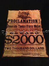 Thomas Darcy McGee - Irish Fenian 1868 $2000 Reward-Print Boston Ottawa, Print