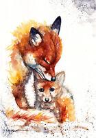 Foxes ,Sale,Original ,Watercolour ,Print ,Card, Gift, Wildlife,Animal,Art, wall