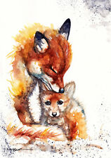 Foxes ,Sale,Original ,Watercolour ,Print ,Card, Gift, Wildlife,Animal,Art, wall