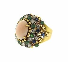 1960's 18k Gold Angel Skin Coral Diamond Sapphire Emerald Cocktail Ring