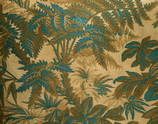 Antique French Botanical Fern Foliage Cotton Fabric 2~Prussian Blue Brown~Patina