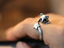 Cute Adjustable Cat Ring Silver Kitty Crystal Eyes AR-18