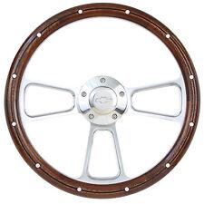 Camaro Mahogany & Billet Steering Wheel, Chevy Horn & Billet Adapter Full Kit