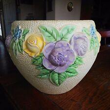 Vintage Roseville Pottery ROZANE Floral Creamware Planter Jardiniere 9 1/2 x 12