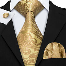 USA Classic Mens Tie Set Novelty Gold Yellow Necktie JACQUARD WOVEN Floral Party