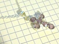 Silver Cross & Chain Made With Purple Swarovski Cubic Zirconia Plum UK BOXED