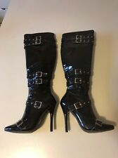 "Black Patent Buckle Strap 5"" High Heel Knee High Boots SZ7"