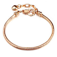 Gold Plated Bracelets chain Screw bangle Fit European Charms Beads 18cm