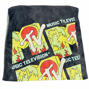 Vintage 80s MTV Beach Towel 29 x 56 Black Cotton Music Television Network Bath