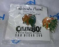 2 VINTAGE 1916-1996 80th Anniversary San Diego ZOO Pin Pinback Brooch Button Lot