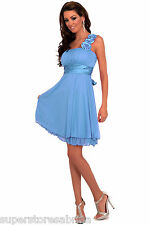 New Cocktail Party Bridesmaid Strap Floral Empire Dress H1196 TURQUOISE -blue M