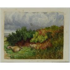 J Morgan Traditional English Sheep Landscape Bristol c1810 Watercolour Painting