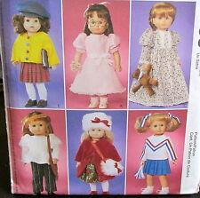 "Doll clothes pattern M3900 18"" girl wardrobe cheer leader nightgown teddy bear"