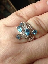 Blue topaz and white diamond  solid 10 KT white gold ring