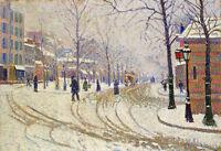 """Oil painting winter Snow Boulevard de Clichy, Paris - Paul Signac (France) 36"""""""
