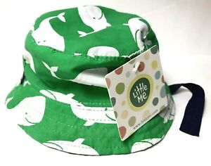 NWT WHALE BUCKET SUN HAT BOY'S or GIRL'S LITTLE ME REVERSIBLE 3M-9M w/ strap
