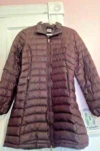 Patagonia women's down long coat in brown size xs EUC