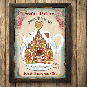 Christmas Gingerbread santa Print Tea Sign,Picture Wall Decor, a4 Unframed