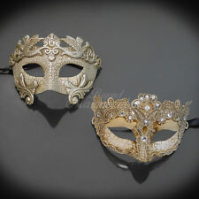 Couples Masquerade Mask, His & Hers Set, Silver Masquerade Couple M2599, M7628