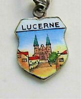 LUCERNE LUZERN Vintage Silver Enamel Travel Shield Charm for Souvenir Bracelet