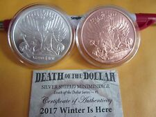 2017 2  oz .999 fine silver Winter is Here BU w/coa SILVER/COPPER SHIELD Putin