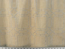 Drapery Fabric Top Stitched Linen-Look Embroidered Geometric - Blue / Beige