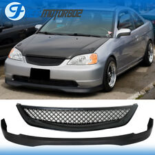 Fit 01-03 Civic 2Dr 4Dr Type R Style Front Lip PP + Type R Style Grill ABS
