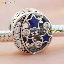 S925 sterling silver Vintage Night Sky Blue Enamel Clear CZ European Charm bead