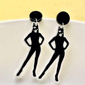 Cat Woman Fun Dangle Acrylic Earrings /Festival/ Retro/ Quirky