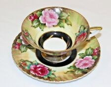 Lefton Cup & Saucer Made in Japan  Bone China Yellow with Red & Pink Rose/ Black