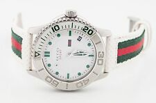 Gucci YA126231 Sport 126.2 Series Leather & Nylon Strap Stainless Steel Watch