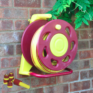 Pro Wall Mounted Hosepipe Garden Reel With 15m Hose Pipe Watering Kit Kink Free