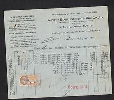 """PARIS (III°) PRODUITS CHIMIQUES """"A. ROSELEUR / PASCALIS"""" en 1933"""