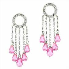 925 Silver Pink CZ Briolette Cut Eternity Chandelier Dangle Teardrop Earrings