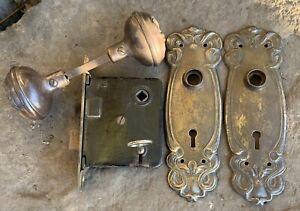 Antique Victorian Doorknobs Back Plate Lock Set, Key Rod & Set Screws