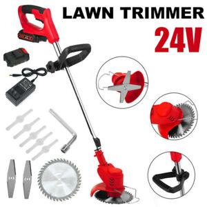 Cordless Strimmer Electric Grass Trimmer Garden Edger 2x Batteries 8x Blades