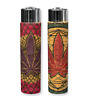 2 Ct CLIPPER Flint Lighters Refillable LEAVE WEED LEAF CORK COVER HAND SEWN