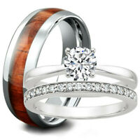 Engagement Ring Match Wedding Band Set His Wood TUNGSTEN Hers Stainless Steel CZ